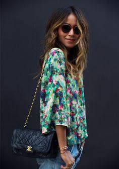 Blouse: Sam Lavi Shorts: 501 Levi's Espadrilles: Soludos Bag: Vintage Chanel via What Goes Around Comes Around Sunglasses: Raen Necklaces: Gabriela Artigas Star + APC pendant