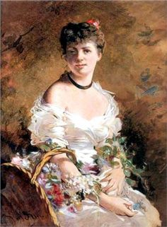 Lady with Flowers -