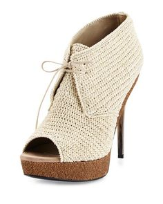 Darfield Crochet Peep-Toe Bootie, Natural Stone by Burberry at Neiman Marcus. Lace Up Heel Boots, Short Heel Boots, Peep Toe Ankle Boots, Shoe Boots, Heeled Boots, Crochet Boot Socks, Crochet Sandals, Booties Crochet, Knit Shoes