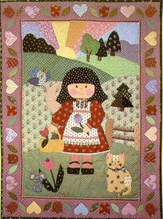 "Cindy and Friends ~  Pictoral appliqué 26""x36"" pattern - Complete instructions included (Free with your order of two or more patterns) Cindy Taylor Clark - original from my card line in the 1980's."
