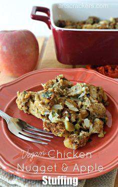Vegan Chicken Nugget and Apple Stuffing | Vegan | Thanksgiving | Stuffing | Dairy-Free | Egg-Free | Meatless | Breading | Side Dish | Apple | Fall | Recipe