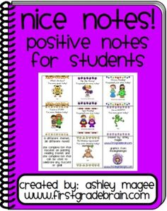 FREE! Nice Notes! Positive Notes for Students!  Need a BIG stash of these on my desk for easy access!!