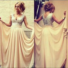 Bridesmaid dress Long Champagne Dress Sequin V neck Prom Evening Dress by 214EVER, $149.99