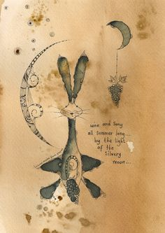ARTFINDER: Wine And Song All Summer Long by Jilly  Henderson - 'Wine And Song All Summer Long' is an original drawing measuring 185mm x 245mm in size. Little hare sits on hand stained paper which gives him an aged appear...