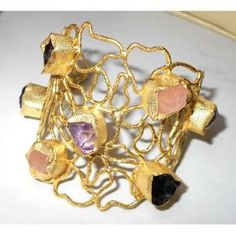 Vintage fashion pendants gold plated matte finish rough gemstone fabulous costume fashion bangle raw gemstone bangle wholesale raw jewelry india aloadofball Image collections
