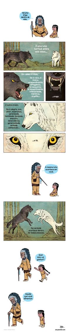 Você escolher o lobo pra as situações da sua vida, sempre com a mente ciente de que vai haver consequências, sendo ela boas ou ruins.
