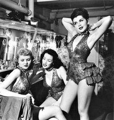 Showgirls backstage at a nightclub, 1950.