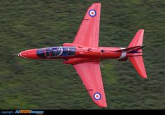 """BAe Hawk T1A XX322 of the """"Red Arrows"""" display team, captured low level en-route from RAF Scampton to RAF Valley."""