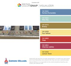 I found these colors with ColorSnap® Visualizer for iPhone by Sherwin-Williams: Perfect Periwinkle (SW 9065), Blue Sky (SW 0063), Brassy (SW 6410), Fun Yellow (SW 6908), Stop (SW 6869), Cherries Jubilee (SW 6862), Lemon Twist (SW 6909).