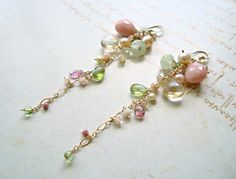 Pink Green Long Dangle Earrings, Boho Gemstone Dangle, Pink Peruvian Opal by BellaAnelaJewelry on Etsy
