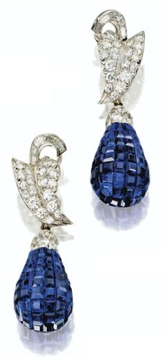 Invisibly set sapphire and diamond pendant-earclips, Aletto brothers. Via Sotheby's.