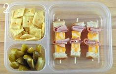 bread,ham,&cheese kebab, pickles, crackers