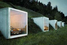 Hill-Hugging Carports -  The Peter Kunz Architektur Garage Studio is Cleverly Designed #PeterKunz #design #architecture