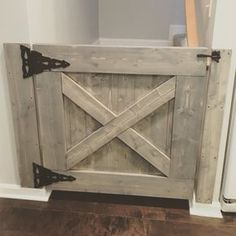 This Farmhouse Baby ( or dog) Gate can be customized to fit any stairway, doorway or… Barn Door Baby Gate, Barn Doors, Sliding Doors, Baby Gates, Dog Gates, Pet Gate, Diy Baby Gate, Gates For Babies, Child Gates