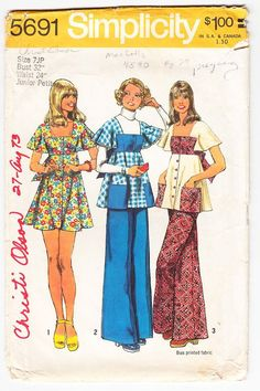 Vintage 1973 Simplicity 5691 Sewing Pattern Junior Petite's Dress or Smock Top and Pants Size 7JP Bust 32
