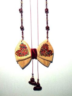 Handmade neckles with wooden bowtie