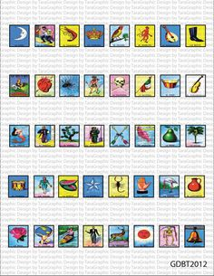 Mexican Loteria Digital Image Sheet for Scrabble Tile Size 75x83 Personal and Commercial Use. $1.25, via Etsy.