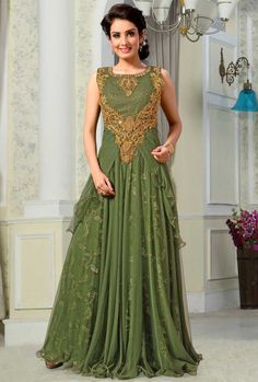 #Asparagus Green Net Embroidered #Wedding Gown Sku Code: 41-5739GW677166  US…
