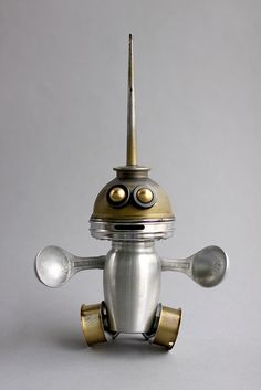 rollie 1 - found object robot assemblage sculpture by brian Marshall by adopt-a-bot, via Flickr