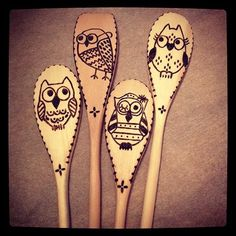 Woodburned spoons owls 1 | by suemadethat