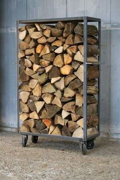 You need a indoor firewood storage? Here is a some creative firewood storage ideas for indoors. Firewood Rack, Firewood Storage, Wood Storage Rack, Stove Accessories, Deco Originale, Wood Shed, Fireplace Mantels, Outdoor Storage, Interior Design Living Room
