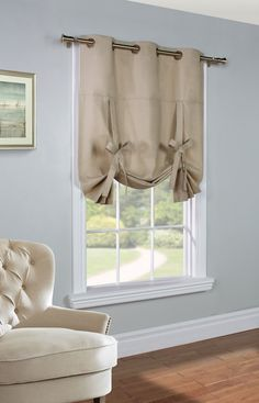 Weathermate Khaki Thermalogic Grommet Tie up Curtain  | Curtain & Bath Outlet Drapes Curtains, Large Window Curtains, Valences For Windows, Large Windows, Cafe Curtains, Curtain Ties, Blackout Curtains, Grommet Curtains, Kitchen Curtains