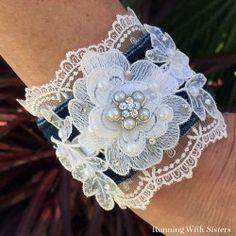 Lace And Denim Cuff Bracelet
