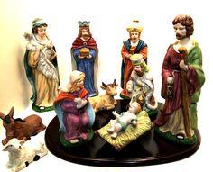 Porcelain Bisque Christmas Nativity Set Wooden Display Base #NativitySet