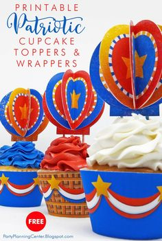 Youll find these red, white, blue and gold cupcake toppers and wrappers so useful for Memorial Day, Flag Day, Fourth of July. 4th Of July Celebration, Fourth Of July, Party Printables, Free Printables, Printable Labels, Superhero Cupcake Toppers, Balloon Cupcakes, Patriotic Cupcakes, Patriotic Crafts