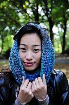 Hawthorn Crocheted Cowl, Blue Crochet Cowl, Crochet Womens Cowl, Blue Ombre Cowl on Etsy, $45.00