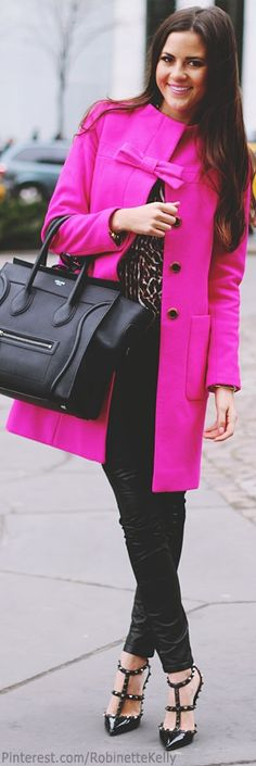 oh my... love love love LOVE!!!!... celine bag, kate spade coat! The coat color and purse style and color are perfect!!