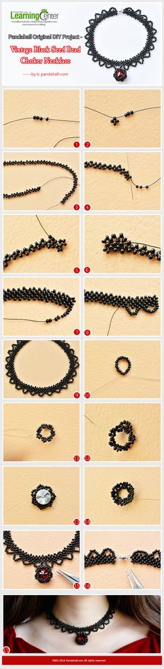 Original DIY Project - Vintage Black Seed Bead Choker Necklace from LC.Pandahall.com  #pandahall