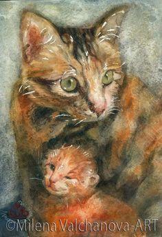 Mother cat-Cat Art-Print of my original watercolor Cute