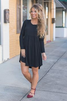 """""""Classically Romantic Dress, Black"""" The beauty of this dress is that it can be dressed up or down! Which is why you have loved it in so many colors! It's perfectly simple and the cut is wonderfully flattering! #newarrivals #shopthemint"""