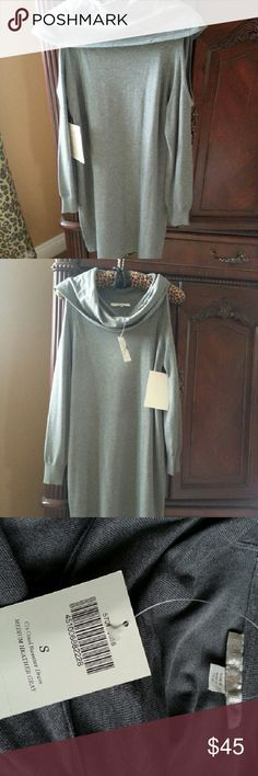 NWT Boston Proper Cold Shoulder Sweater Dress Very sexy heather gray sweater dress.   New with tags. Boston Proper Dresses Midi
