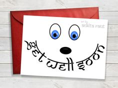 Printable Get Well Soon Card Cheer Up Thinking by ArtByAnkitaRaut
