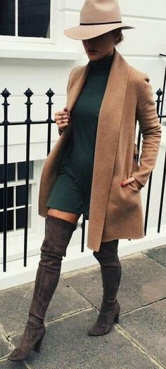 Forest green dress with brown coat and dark brown thigh high boots