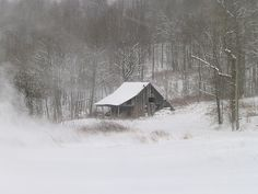 barn in blowing snow