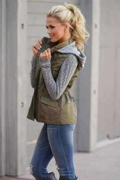 When I'm With You Hooded Jacket - cute olive contrast zip up jacket with hood, side, Closet Candy Boutique