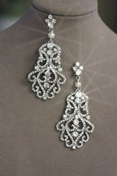 Large Lace Crystal Earrings Filigree Earrings by simplychic93