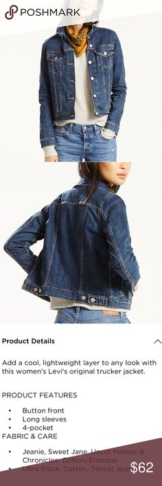 """Levi's Original Denim Trucker Jean Jacket Women's Size medium. Great for layering. New without tags. Classic denim jacket. Color is called """"sweet Jane"""". It's a nice medium wash denim color. Levi's Jackets & Coats Jean Jackets"""