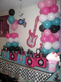 Decor for your rock n roll party. The black and white cloth can be substituted with black and white wrapping paper