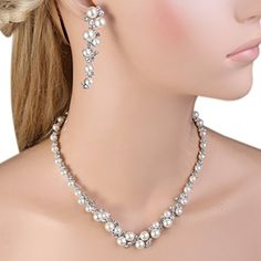 EVER FAITH Simulated Pearl Crystal Bridal Necklace Earrings Bracelet Set Clear *** Look into the picture by seeing the web link. (This is an affiliate link). Bridal Necklace Set, Bridal Jewelry Sets, Cluster Necklace, Leaf Necklace, Bracelet Set, Necklace Lengths, Jewelry Gifts, Jewellery, Earring Set
