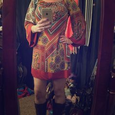 BNWT BOHO dress Burnt orange, sunset orange , mustard yellow, and blue. 2B together los angeles Dresses