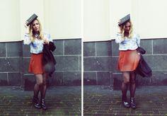 New Yorker Blouse, Dr. Martens Boots, Zara Skirt