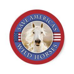 Save America's Wild Horses Stickers by Carol Walker http://www.zazzle.com/savewildhorses?