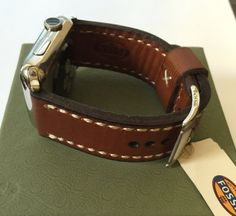Apple Watch Band Genuine Fossil Light Brown by ItsTimelessVintage: My favorite rugged looking Fossil Band and looks amazing on Apple Watch Apple Watch 42mm, Apple Watch Bands, Fossil, Leather Watches, Belt, My Favorite Things, Brown, Silver, Accessories