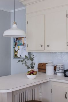 Our busy kitchen and the stick on subway tiles.