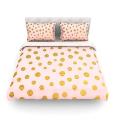 <strong>KESS InHouse</strong> Golden Dots and Pink by Nika Martinez Featherweight Duvet Cover