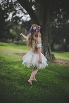Little Girls Fairy Princess Flower Crown by Sweet Little Sparrow.  Photo by Tara Tomlinson Photography & Styled by Rachel Griffith.